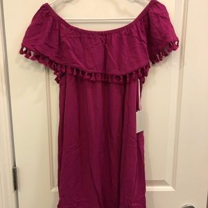 New with tags off the shoulder fuscia dress